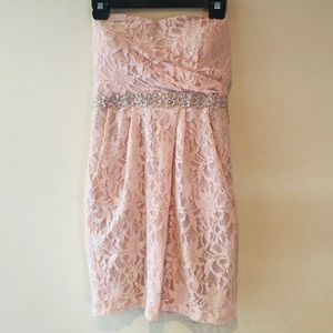 CITY TRIANGLES PINK LACE STRAPLESS DRESS